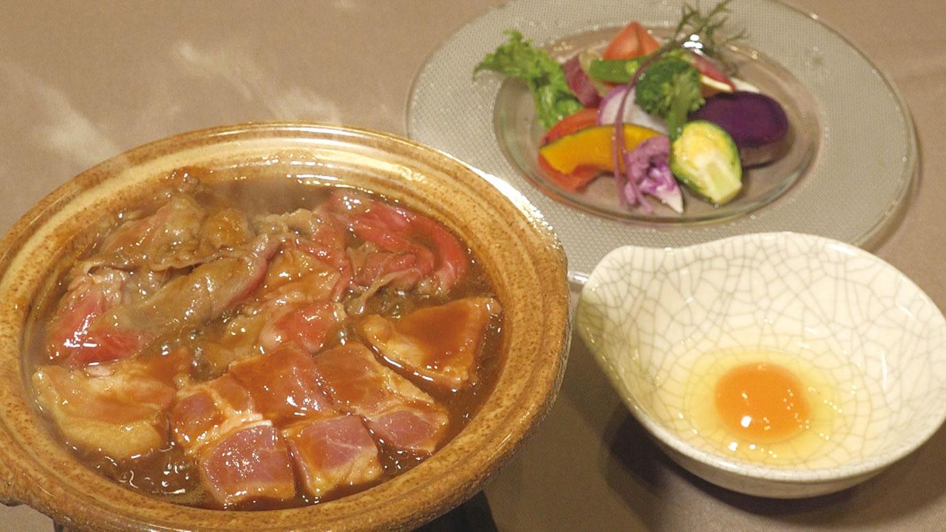 飛騨牛と美濃ヘルシーポークを伝統の味噌で炊き上げる「みそすき焼き」2160円