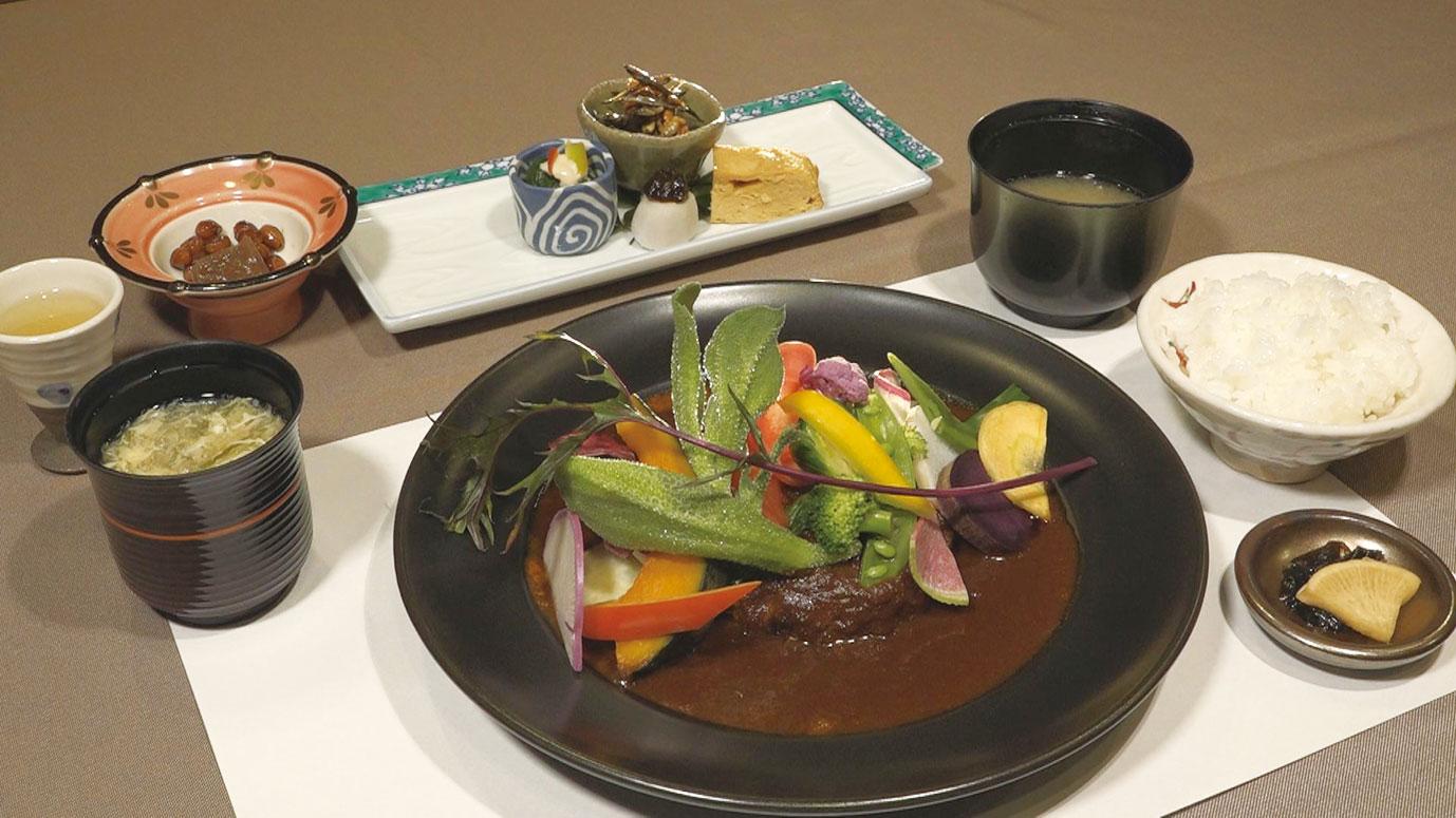 自然食にこだわり、ヘルシーで彩り鮮やかな「ふわふわハンバーグ」1620円